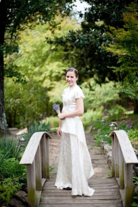 On her big day, Margaret's daughter wore the heirloom wedding gown, complete with summer-appropriate short sleeves that still fit the original era of the dress. (Photo courtesy of Angie's List member Margaret B.)