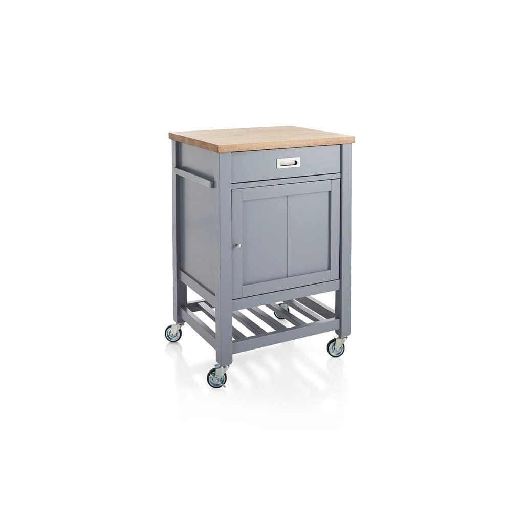 Gray kitchen island with cart with wheels