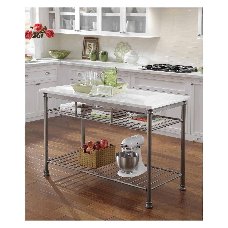 Wire rack kitchen Island with adjustable feet