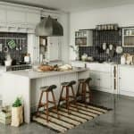A kitchen island in a kitchen with rustic elements (Photo by Bulgac/E+ via Getty Images)