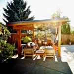 people lounging under pergola on home patio next to pool (Photo by © Thomas Barwick/Digital Vision/Getty Images)