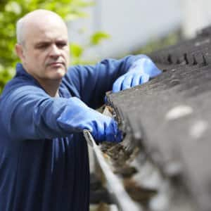 man clearing gutter of leaves