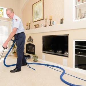 Have you cleaned your carpeting, and then had spots return? Carpet spot remover products, if not thoroughly rinsed, can actually attract dirt back to the area where they were applied. (Photo courtesy of Healthy Home Carpet)