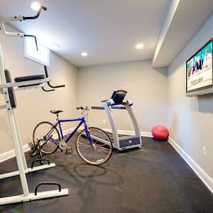 home gym, basement remodel, treadmill