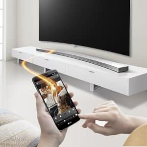 LG Music Flow HS8 sound bar lifestyle shot.