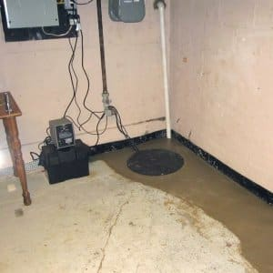 A French drain in a basement