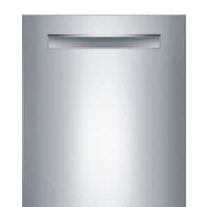 Front shot of Bosch SHP65T55UC 500 Series dishwasher with door closed.
