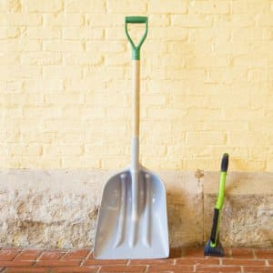 A shovel is a great eco-friendly way to remove snow, but be careful not to overexert yourself. (Katelin Kinney)