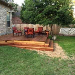 The two-level deck provides plenty of space for the family of four. (Photo courtesy of Angie's List member Mark Telschow of Austin, Texas)