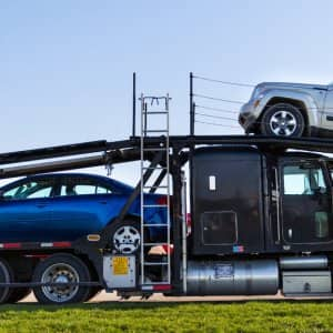 Open air truck with cars