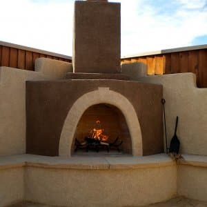 an outdoor fireplace in new mexico