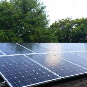 A solar panel array on a roof