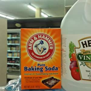 box of baking soda and a bottle of vinegar