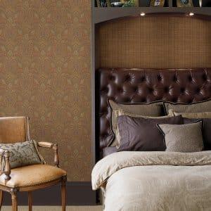 grasscloth wallpaper in bedroom