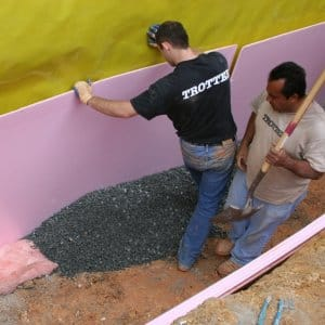 basement waterproofing contractors working