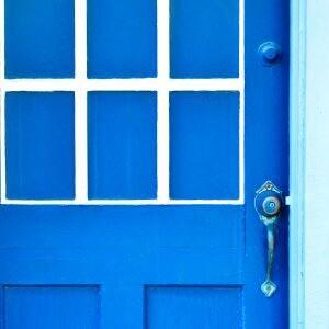 blue exterior door on house