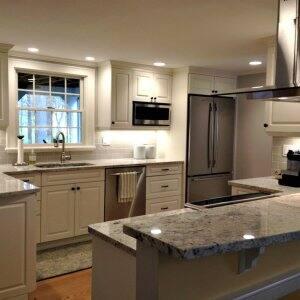 kitchen cabinets, kitchen remodel, kitchen lighting, island hood, island, stainless steel appliances,
