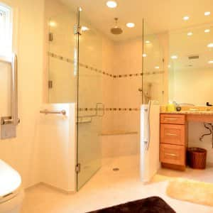 curbless shower in master bathroom