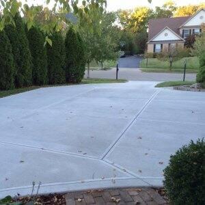 Freshly poured concrete driveway