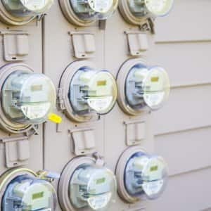 multiple electrical meters on exterior wall