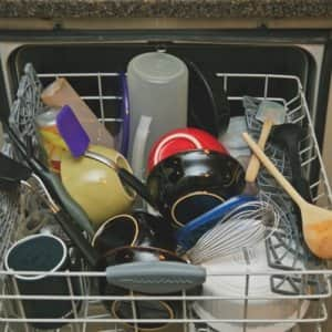 overloaded dishwasher