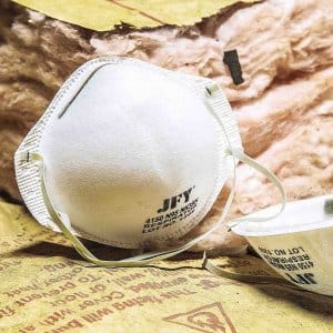 fiberglass insulation with dust masks