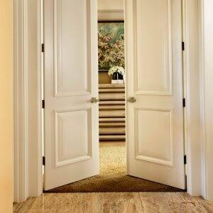 TruStile Doors French doors with MDF panels in hallway