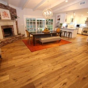 hardwood flooring in kitchen and dining room remodel