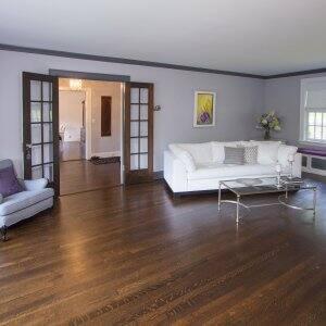 family room with oak hardwood flooring