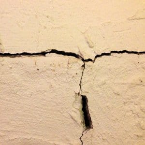 If you notice a crack on your foundation, call a professional to inspect it. As the crack grows larger, the potential for water intrusion into your home increases. (Photo courtesy of Dale W., of Boones Mill, Va.)