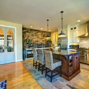 Beautifully decorated kitchen with island