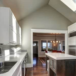 newly remodeled kitchen with skylight