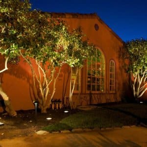 California home lit at night