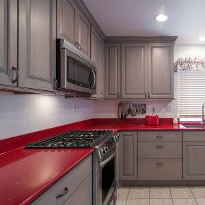 red quartz kitchen countertop