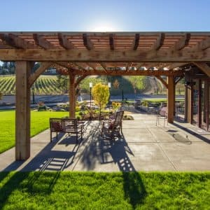 Redwood pergola in backyard