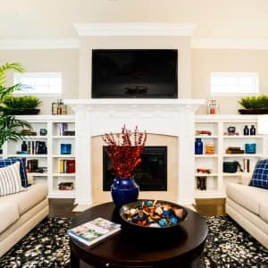 living room remodel with TV on wall