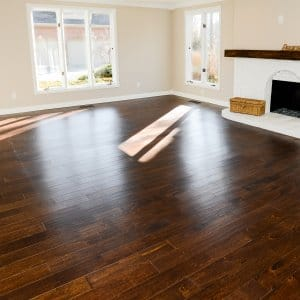 hardwood flooring and a fireplace