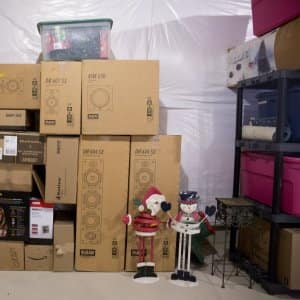 Boxes stacked for a move