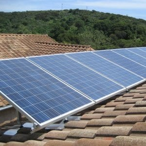 Solar energy panels on a tile roof