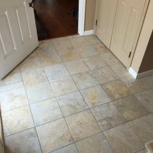 square tile in entryway