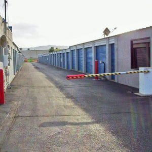 Storage facility with a security gate