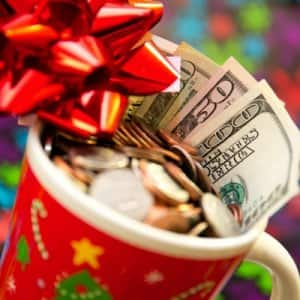 money in holiday mug