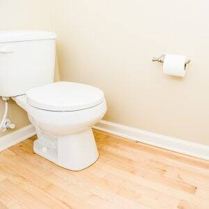 white toilet in bathroom with wood flooring