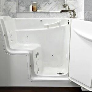 walk-in bathtub with door open