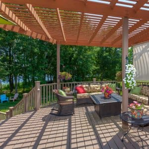 Pergola on a backyard patio (Photo by  JamesBrey/iStock/Getty Images Plus/Getty Images)
