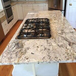 granite countertop island in a kitchen