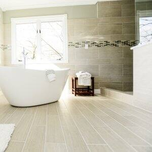 remodeled bathroom with soaking tub