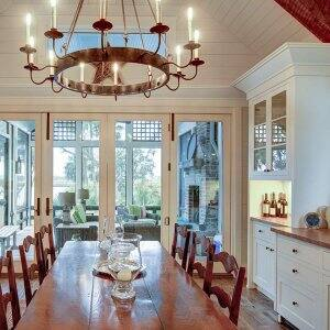 Dining room with floor to ceiling shiplap (Photo by Wollwerth Imagery - stock.adobe.com)
