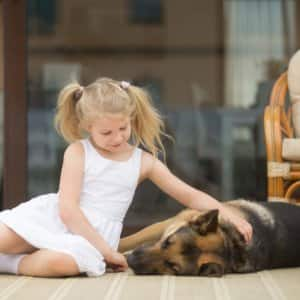 Girl petting dog on porch (Photo by fizzles / Shutterstock.com)