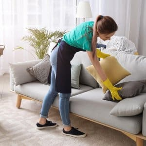 Professional cleaner picks up pillows on couch (Photo by Pixel-Shot - stock.adobe.com)